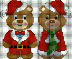 Christmas teddies cross stitch or perler bead pattern Hama Beads Christmas, Cross Stitch Christmas Ornaments, Xmas Cross Stitch, Christmas Embroidery, Christmas Knitting, Christmas Cross, Cross Stitch Charts, Cross Stitch Designs, Cross Stitching