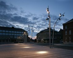 Exterior light. Pole light. Square. Landscape. Spotlight. La Louvière | ACT lighting design