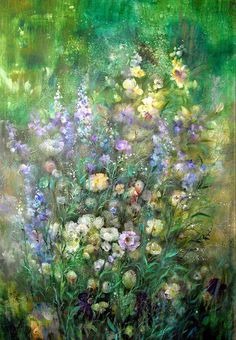 Summer Secret Garden Painting by Natalia Rudzina #HomeDecor #FlowerArt #ArtForSale #Painting #RussianArtistsNewWave #NataliaRudzina #OriginalArtForSale