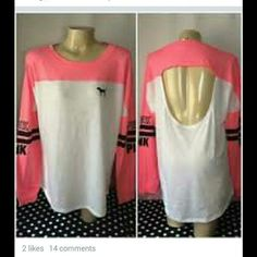 Variety crew with cut out back Cute PINK shirt. Long sleeve with cut out on the back. Xsmall but could fit small and medium. Lose fit. Nice thin tee. Only wore it once as a night shirt. PINK Victoria's Secret Tops Tees - Long Sleeve