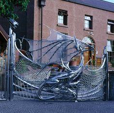 Steel dragon gate. Dublin, Ireland