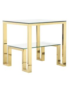 Laurence Side Table by Rustique by Pangea Home at Gilt Low Shelves, Open Shelving, Gold Office Supplies, Living Room Decor Styles, Glass End Tables, Metal Side Table, End Tables With Storage, Nesting Tables, Contemporary
