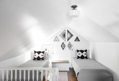 The attic bedroom, accessed by a spiral staircase, is for her son Cruz.