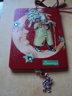 Wood Christmas Ornament or Hanging Embellished by dohamaecrafts4u, $9.99
