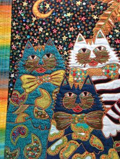 Batik Cats Art Quilt Fiber Art by StitchesnQuilts on Etsy