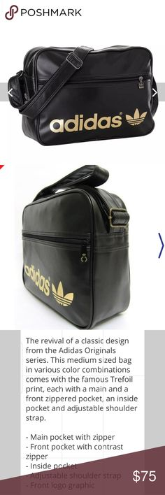 22203c90a ADIDAS Airline Black Gold Metal Logo Messenger Bag BY Adidas this Bag is a  RARE find