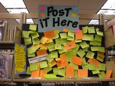 Interactive post-it board for teens--great passive programming.