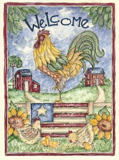 country farm flag ~ Welcome Rooster by Shelly Rasche folk art