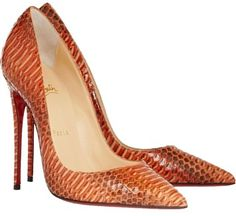 Christian Louboutin So Kate 120 Watersnake Orange Pumps. Get the must-have pumps of this season! These Christian Louboutin So Kate 120 Watersnake Orange Pumps are a top 10 member favorite on Tradesy. Stilettos, Pumps Heels, Louboutin Pumps, Snakeskin Heels, Leather Pumps, Stiletto Heels, Hot Shoes, Crazy Shoes, Me Too Shoes