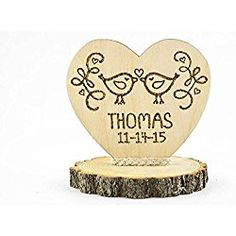 Wedding Collectibles Personalized Love Birds Rustic Cake Topper ** More info could be found at the image url. (This is an affiliate link) Rustic Wedding Cake Toppers, Personalized Wedding Cake Toppers, Wedding Topper, Wedding Cakes, Decorating Tools, Wooden Hearts, Custom Wood, Our Wedding, Wedding Ideas