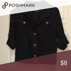 Half jacket, navy with brown buttons! Never worn, brand new condition half jacket, perfect for a dressy or casual top layer! Dark navy! Other