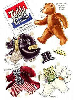 The Teddy Bear and Friends Paper Doll Fantasy: Teddy for President Paper Art, Paper Crafts, Paper Doll House, Paper Animals, Dress Up Dolls, Vintage Paper Dolls, Printable Paper, Paper Toys, Doll Toys