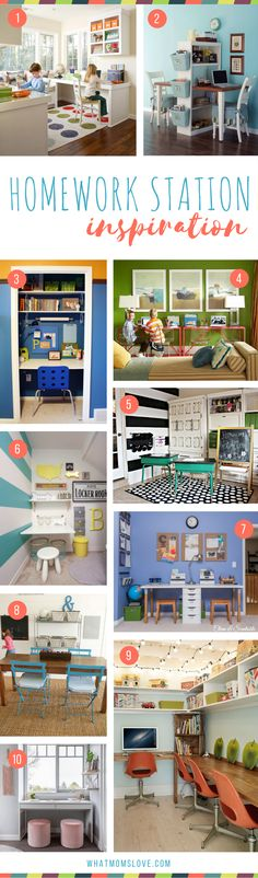 Homework Station Organization - tips, hacks and inspiration on how to create a study space for kids