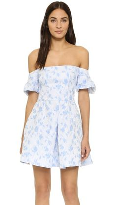 Cynthia Rowley Off Shoulder Dress with Pleated Skirt