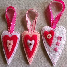 White and  pink felt heart ornaments  Ready to ship by Lucismiles, $8.50