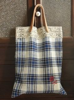 Leather Handle Vintage Cotton Tote - HANDMADE by yozocraf~