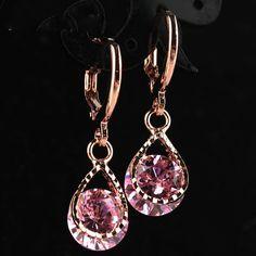 Мода капли воды CZ Кристаллические серьги для Для женщин Винтаж розовое золото Цвет Свадебная вечеринка Серьги изделия Brinco feminino подарок