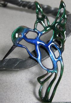 Enameled Copper Hummingbird Pendant by EBBeadandMetalWorks on Etsy, $20.00