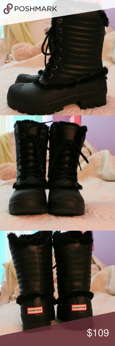 Hunter Snow Boots Waterproof. Outer: rubber Inside: black shearling Hunter Boots Shoes Winter & Rain Boots
