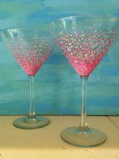 Hand Painted Confetti Design Martini by ManchesterCreations