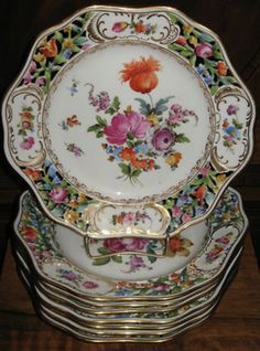 Set of 8 Antique floral reticulated Dresden Germany porcelain plates in excellent condition. Antique Dishes, Antique Plates, Vintage Plates, Vintage Dishes, Antique China, Vintage China, Dresden China, Dresden Germany, Dresden Porcelain