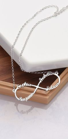 "Our Infinity Name Necklace provides the best way for you to show off what the word ""forever"" means to you. You can get up to two names or words on each loop of the infinity symbol. This is the perfect personalized infinity necklace to wear"