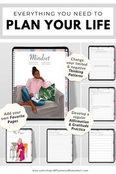 This all-in-one digital planner also includes a section to help you focus on your mindset. #digitalplanner #goodnotes Coping Skills, Life Skills, Life Lessons, Skinny Motivation, Need Motivation, Life Tips, Life Hacks, Evening Meditation, Creating A Vision Board
