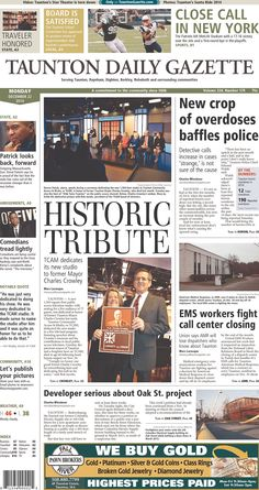 The front page of the Taunton Daily Gazette for Monday, Dec. 22, 2014.