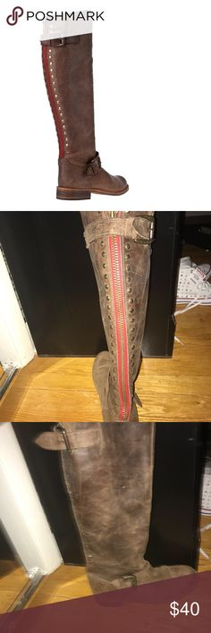 Steve Madden Boots Red Zipper Size 8 Used, in good condition but wear is evident Steve Madden Shoes Over the Knee Boots