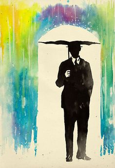 """This is so cool! I love the way the umbrella isn't draw, just outlined by the watercolor """"rain"""" and shadow :)"""
