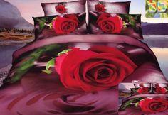 Elegancka bordowa pościel do sypialni z czerwoną różą