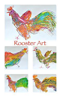 Rooster Art: Beautiful kids art project made WITHOUT brushes. Kindergarten Art, Preschool Art, Art Activities For Kids, Art For Kids, Rooster Art, 3rd Grade Art, Farm Art, Chicken Art, School Art Projects