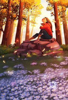 The Sound Of Nature - yaoyao ma va nas illustrations Fantasy Kunst, Fantasy Art, Anime Art Girl, Aesthetic Art, Cute Drawings, Simple Drawings, Cartoon Art, Cute Art, Pretty Art
