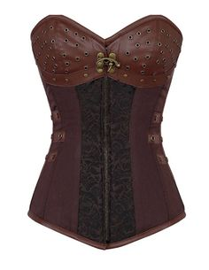RedBeana Women Sexy 12 Steel Bones Steampunk Corset Brown X-Large. Material:Polyester/Elastane. Steampunk clothing has never been so popular and this steampunk corset is no exception. Look closely at the details of the corset and you'll fall in love. This new arrival features modesty panel with12 spiral steel bones insert, full-length zip on front and strong corset cord lacing back, sweetheart bust line, constructed by leather and brocade shell. SIZE S: Waist 66cm-72cm / SIZE M: Waist...