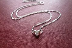 Tiny Silver Heart Necklace in Sterling Silver Sweet by roundabout