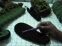 Crocheted boots tutorial - using silicone rubber on the soles