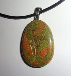 """1pc Unakite """"Buffalo Skull"""" Natures Natural Totem Energy Stone Gemstone Crystal Healing Pendant Necklace Represents """"Sacredness, Reverence for Life"""" Sublime Gifts http://www.amazon.com/dp/B014OA2MD4/ref=cm_sw_r_pi_dp_gWZ4vb1W7PBFV"""
