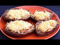 Berenjenas rellenas gratinadas con queso - Recetas de Isabel