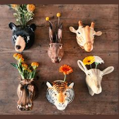 Ceramic animal head planters