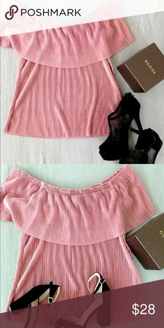 Off Shoulders! TRENDY ! Get the trendy for this summer ! Nice pink blouse! I suggest this for a S size or M fit!  Please, ask any questions ! Never used ! Tops Blouses
