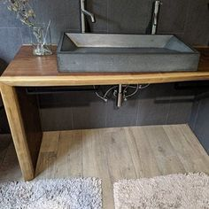22 Rectangle with Extension and Maple Stand High Strength Concrete, Concrete Kitchen, Home Goods Decor, Sink, Vessel Sink, Ada Bathroom, Dream Bathrooms, Trough Sink Bathroom, Concrete Bathroom