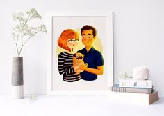 Cute couple portrait, pet portrait, gift, family portrait, pug, illustration, custom portrait