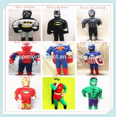 Factory Direct Sell New Design Halloween Spiderman Costumes Kids Boys Strong Muscle Superman Costumes For Party