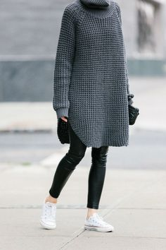 Stylish ways with white converse trainers. white converse, chunky knits, leather trousers, Knit dress, leather jacket Source by pwhitecamellias fashion outfit Fashion Mode, Look Fashion, Fashion Outfits, Fall Fashion, Fashion Clothes, Lifestyle Fashion, Latex Fashion, Fashion Trends, Sweater Outfits