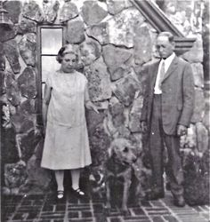 Laura Ingalls Wilder, her husband Almanzo and their dog Nero at Rocky Ridge Farm in Mansfield, Missouri, in the early 1930s