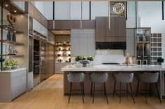 Contemporary Residence by Rochelle Cote Interior Design (Home Adore) Kitchen Buffet, Kitchen Cupboards, Cabinets, Modern Light Fixtures, Modern Lighting, Calgary, Home Lottery, Kitchen Linens, Cabinet Styles