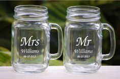 Mason Jar Wedding Glasses Mr and Mrs Personalized Custom Fonts with Handles - Groomsmen and Bridesmaid Gifts - Wedding Favors. $24.50, via Etsy.