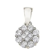 14kt White Gold Round Diamond Cluster Pendant 0.52ct TW*