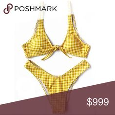 """""""GINA"""" GINGHAM TWO PIECE CHECKERED BIKINI SET 🎉IN STOCK A """"GINA"""" GINGHAM BIKINI SET FROM MIMIZ BOUTIQUE THE TOP IS TIED AT THE BUST WITH A HIGH CUT THONG STYLE BIKINI BOTTOMS IT IS A BEAUTIFUL YELLOW COLOR WITH GINGHAM CHECKER PRINT BRIGHTER IN PERSON Mimiz Boutique Swim Bikinis"""