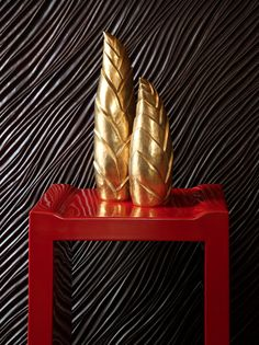 Robert Kuo Bamboo Shoot Boxes on Flange Nesting Table in red lacquer Bamboo Shoots, Tabletop Accessories, Organic Form, Nesting Tables, Decorative Objects, Modern Lighting, Incense, Home Furnishings, Inspiration